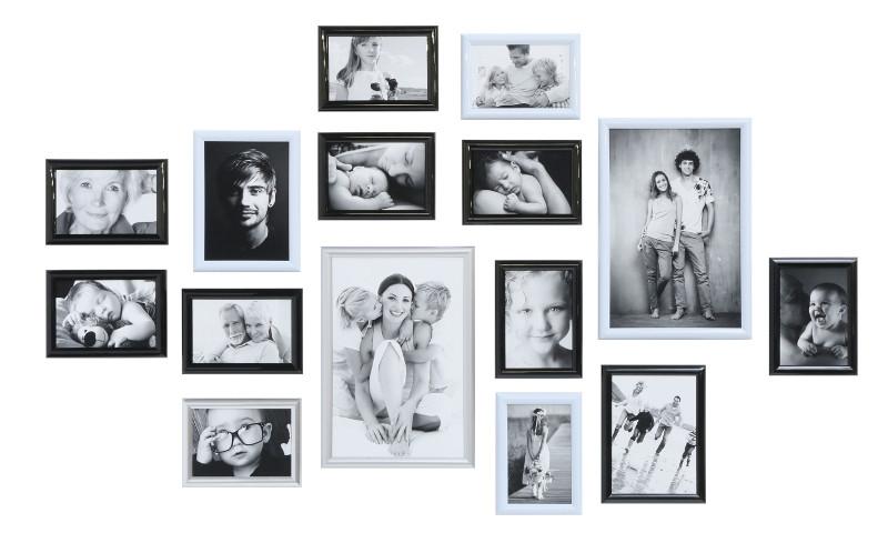 bilderwand family mit 15 kunststoffrahmen in schwarz wei silber. Black Bedroom Furniture Sets. Home Design Ideas