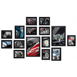 Bilderwand CARS mit 15 Bilderrahmen Schwarz