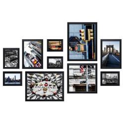 Bilderwand CITY mit 10 Bilderrahmen Schwarz