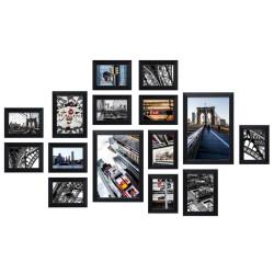 Bilderwand CITY mit 15 Bilderrahmen Schwarz