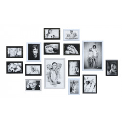 Bilderwand Family mit 15 Kunststoffrahmen in Schwarz/Weiß/Silber