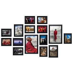 Bilderwand ZEN mit 15 Bilderrahmen Schwarz