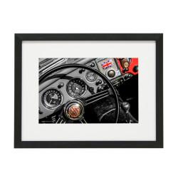 Gerahmtes Bild Oldtimer Dashboard Nr10 – Kunststoffrahmen Schwarz