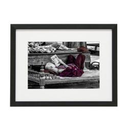 Gerahmtes Bild Zen Nr21 – Kunststoffrahmen Schwarz 30 x 40